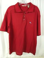 Tommy Bahama  Red Short Sleeve Polo Shirt 80% Pima Cotton Mens size Large