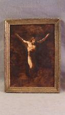 Antique Jesus on Crucifix Landscape Oil  Painting