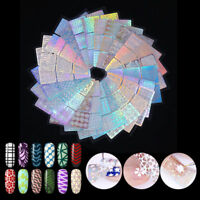 24Sheets Nail Vinyls Laser Hollow Nail Art Stickers Transfer Guide Template Tips
