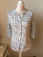 BODEN White Navy Yellow Flower Print Half Sleeve Shirt Top Size 10 Home Working
