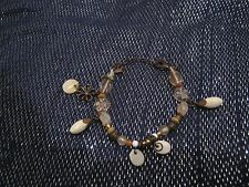 Fantastic simple bronze tone metal bracelet with various beads & charms