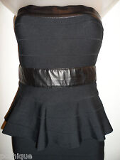 bebe XS  Peplum Bandage Dress Black Pleather Strapless Bodycon Cocktail Party
