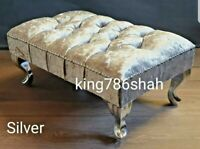 SILVER CRUSH VELVET FOOT STOOL CHESTERFIELD STYLE AND FREE DELIVERY333