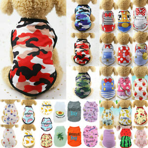 Summer Pet Dog Clothes Cat Puppy Small Dog Camouflage Vest T Shirt Apparel UK