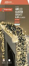 480 LED Multi Action Warm White Cluster Christmas Lights with Timer - PREMIER