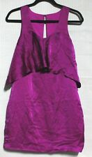 NEW Wish Women's purple dress sleeveless with front frill 100% SILK SIZE XS