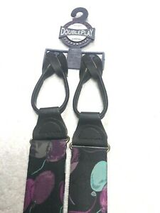 MENS SUSPENDERS ALL POLYESTER BUTTON ONS BLACK WITH TEAL GREEN AND PURPLE