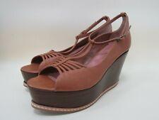 Derek Lam Suzume Women's Tan Leather Wedge Platform Ankle Strap Sandals Size 40