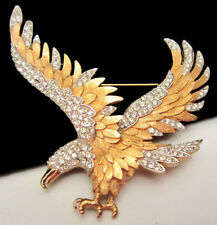 "Rare Vtg 2-3/4"" Signed/Numbered Boucher Goldtone Rhinestone Eagle Bird Brooch 74"