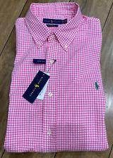 Men's Polo Ralph Lauren Pink Plaid Classic Fit Stretch Long Sleeve Shirt 2XL NEW
