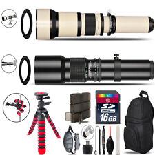 500mm-1300mm Telephoto Lens for Rebel T5 T5i + Triple Tripod Bundle - 16GB Kit