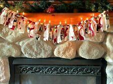 Holiday Rag Garland Bunting Home Decor Christmas Lighted Strings Lights 3 ft