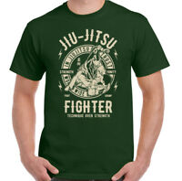 Jiu Jitsu Fighter Mens Martial Arts T-Shirt Training Top Gym MMA Brazilian Fight