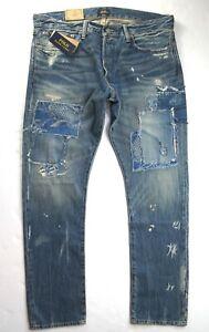 POLO RALPH LAUREN Men's Sullivan Slim Fit Distress Patchwork Blue Jeans NEW NWT