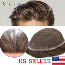 Full French Lace Mens Toupee Transparenent Natural Hairline Remy Hair System Wig