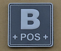 "PVC / Rubber Patch ""Blood type B POS + Black"" with VELCRO® brand hook"
