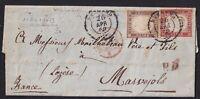 1860 - Sardegna - Lettera Bicolore Bergamo Francia - 14Ba + 16B Certificata