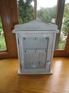 "Key Cabinet Farmhouse Style White Wash Wood 10""w x 14""h x 3 1/2""l"