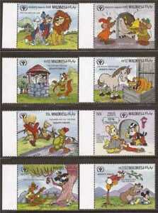 Maldives - 1990 Disney Aesop's Fables - 8 Stamp Set -13e-474