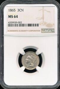 1865 Copper-Nickel 3-Cent Piece NGC MS 64 *Die Cracks + Clashed Die!*