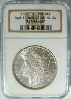 1887 Silver Morgan Dollar NGC MS 64 Vam 12 DDO Gator Eye Mint Error Top 100