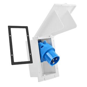 CEE Aussensteckdose weiß Spritzwasser geschützt 200-250V, 16A,für Wohnwagen