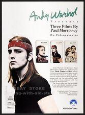 ANDY WARHOL__PAUL MORRISSEY__Orig. 1988 Trade AD movie promo__FLESH__TRASH__HEAT