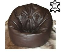 XL Real Leather Beanbag Leather Bean Bag chair Real Leather beanbags Filled NEW