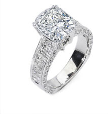 4.88Ct Invisible set Princess & Cushion Cut Diamond Engagement Ring 18K Y/W Gold