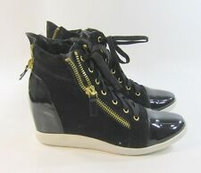 "Blacks Gold  3""high wedge heel round toe ankle boot lace up  size  10"