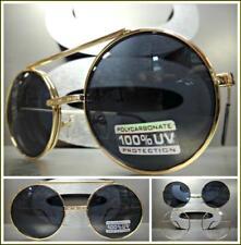 Classic Vintage 60's Retro Style Round Flip Up SUN GLASSES Gold Frame Dark Lens