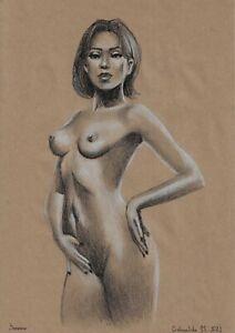 original drawing 21 x 30 cm 177GM art samovar Pastel female nude Signed 2021