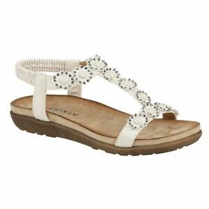 Cipriata ladies elasticated flower halter back sandals Style L106 Colour Wht s 5