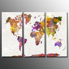 FRAMED Canvas Print Colorful World Map Picture Painting Wall Art Home Decor-3pcs