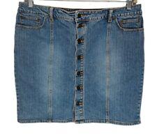 Daisy Fuentes Blue Denim Knee Length Pencil Button Front Stretch Skirt Size 16
