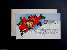 Vintage 1920's Unused Xmas Greeting Card Red Poinsettias & Candle Lamp