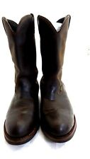 """DAN POST MENS BROWN 15"""" LEATHER PULL ON WORK BOOTS SIZE 16 EXTRA WIDE"""