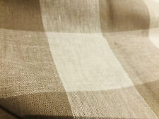 "Gingham Linen Checked Linen Fabric Plaid Material - 55"" wide- BEIGE&WHITE Square"