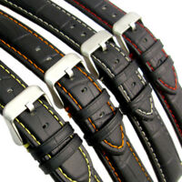 Padded Alligator Grain Leather Watch Band Strap Coloured Contrast Stitching C027