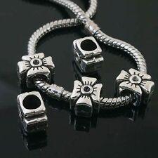 6pcs Tibetan Silver cross spacer Beads Fit European charm  Bracelet  L0092
