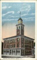 Owego NY Central Fire Station c1920 Unused Postcard