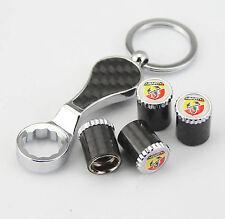 4pcs Kohlefaser Auto Reifen Ventilkappen + Wrench schlüsselanhänger für ABARTH