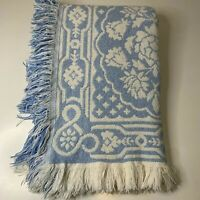 crown crafts knit woven throw blanket sofa blue white rose print traditional fri
