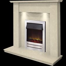 MARBLE CREAM STONE CHEAP SURROUND CHROME ELECTRIC FIRE FIREPLACE SUITE DOWNLIGHT