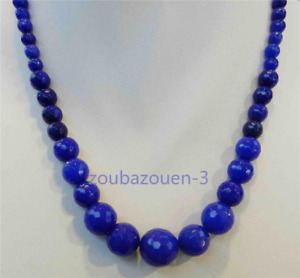 New 6-14mm Blue Sapphire Round Faceted Gemstone Necklace 18 inches