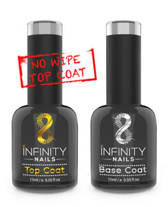 INFINITY NAILS™ Top and Base coat - nail gel polish - UV/LED - NO WIPE TOP 15ml