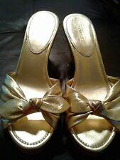 COACH Women's GOLD & CORK Tie Sandals Wedges Heels Slides Size 8