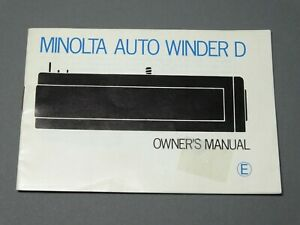 Minolta Auto Winder D Instruction Manual - Original not a copy