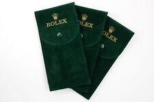 3 Pochette Marchio Rolex Verde Porta Orologi Elegante Antigraffio Floccato Nuove