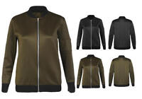 WOMENS LADIES TREND CLASSIC BOMBER CASUAL JACKET VINTAGE ZIP UP FASHION A31
